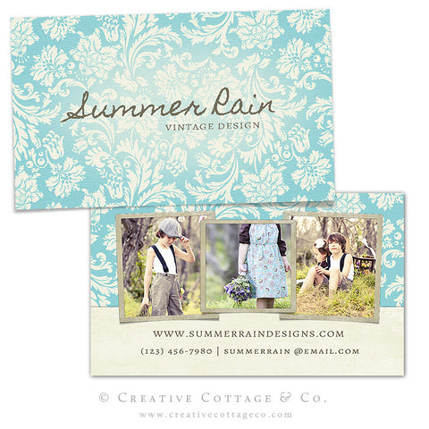 Blue Floral Damask Vintage Business Card Template