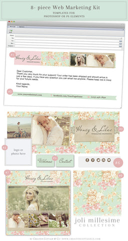 Vintage Floral and Lace Facebook, Email And Social Kit