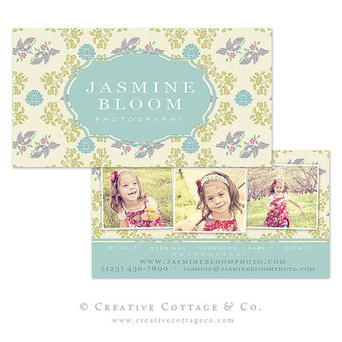 Floral Bird Vintage Damask Business Card