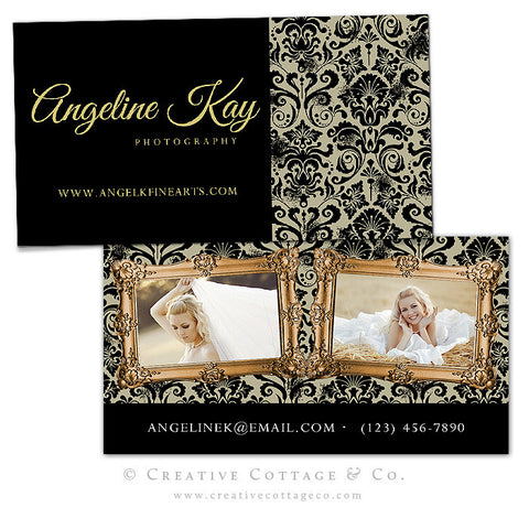 Black Gold Elegant Damask Business Card