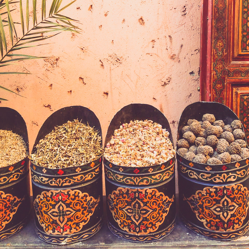 tea and herbs containers | souk market Marrakech | Travel Guide | Marrakesh Shopping | Morocco