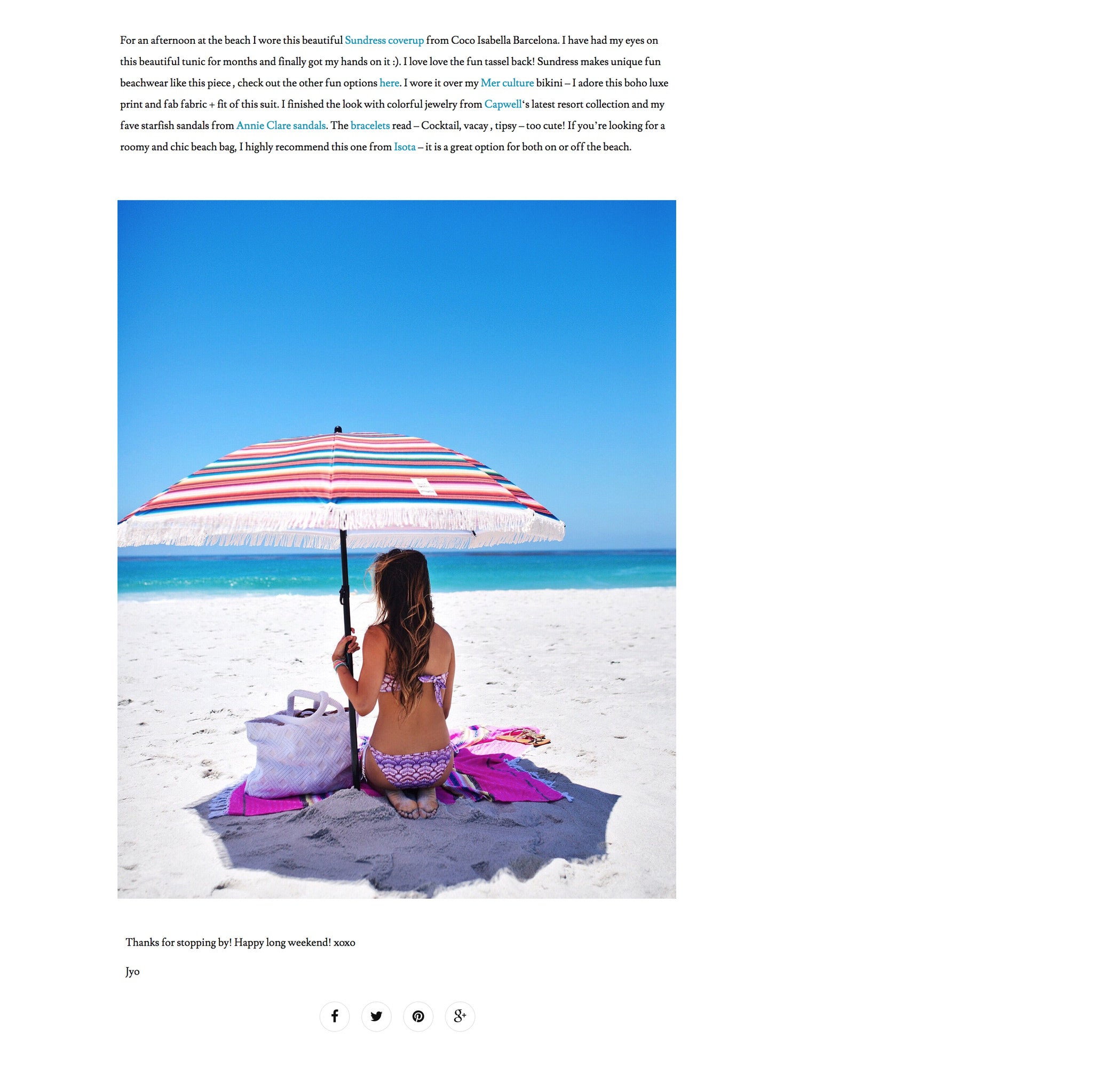 Cuppajyo USA article | Press | Mer Culture swimwear | carmel beach wearing Kelyfos bandeau top and string tie bottom bikini