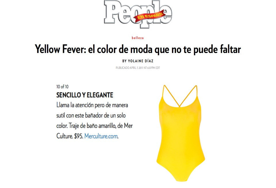 People en Español USA article | Press | Mer Culture swimwear | Yellow Fever