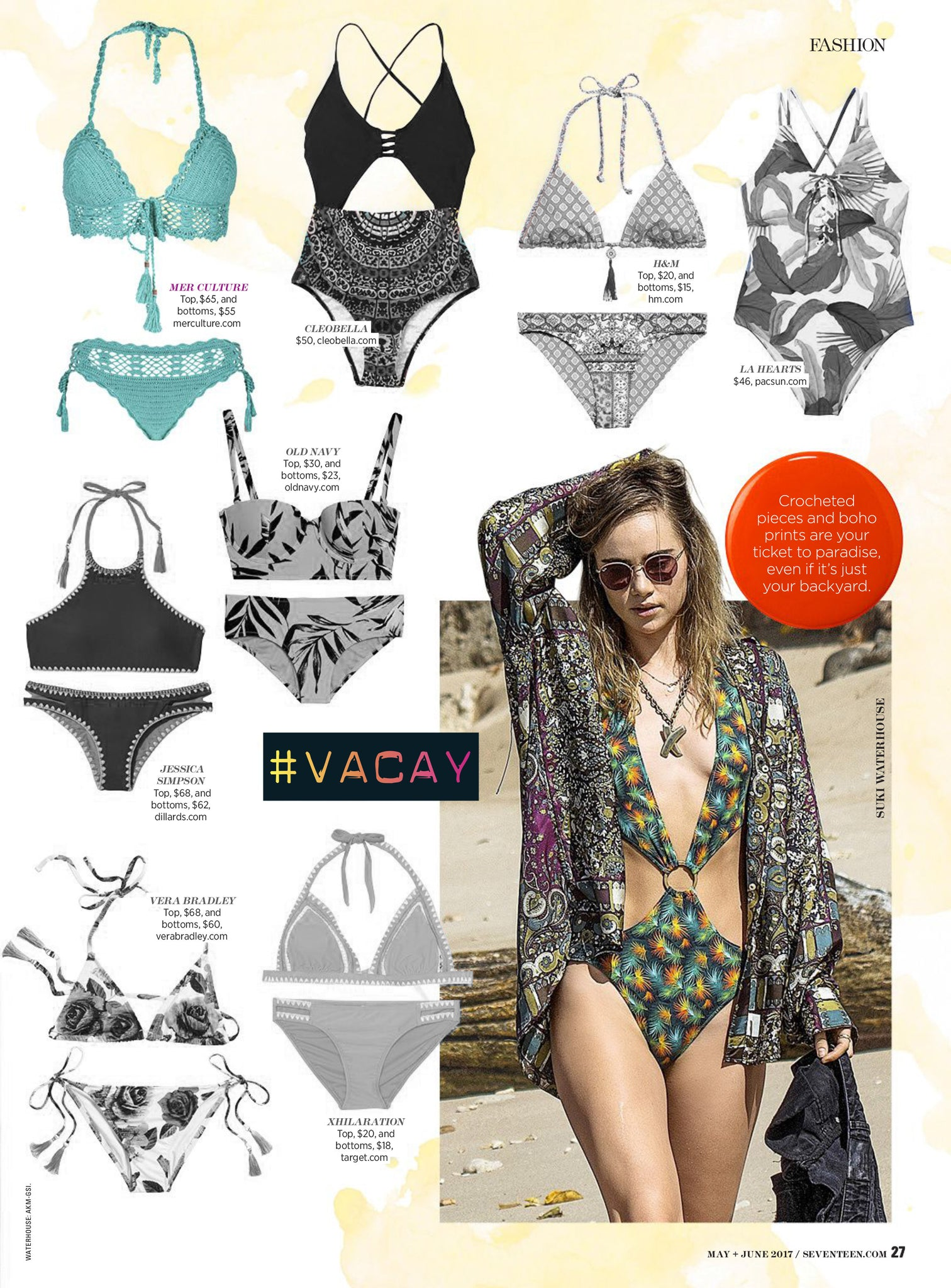 Seventeen Magazine article USA | Press | Mer Culture swimwear | Essaouira midi crochet bikini | #Vacay