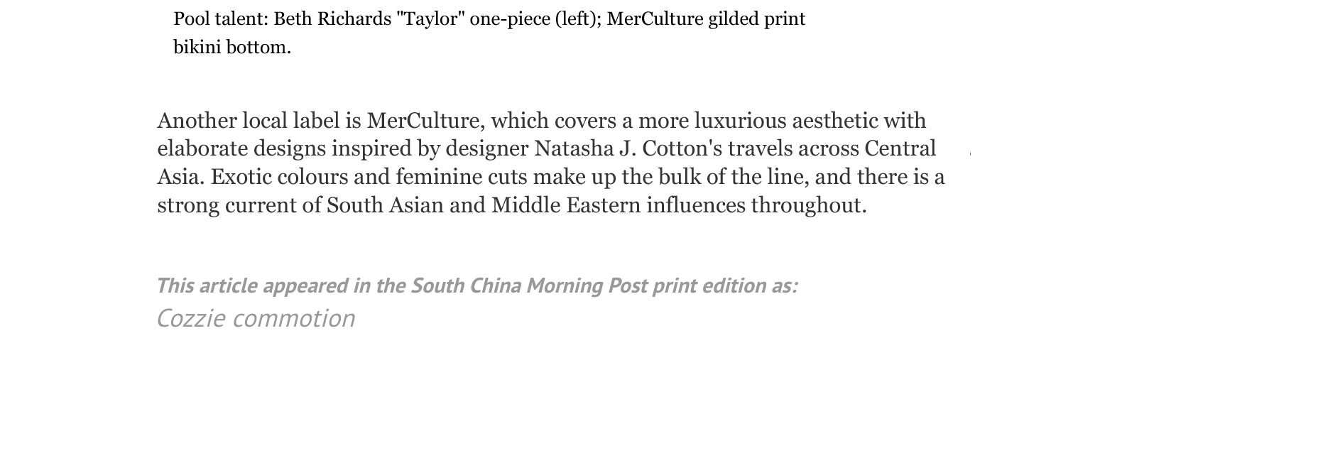 48 Hours by South China Morning Post article | Press | Hong Kong | Mer Culture swimwear | the hottest beachwear for summer