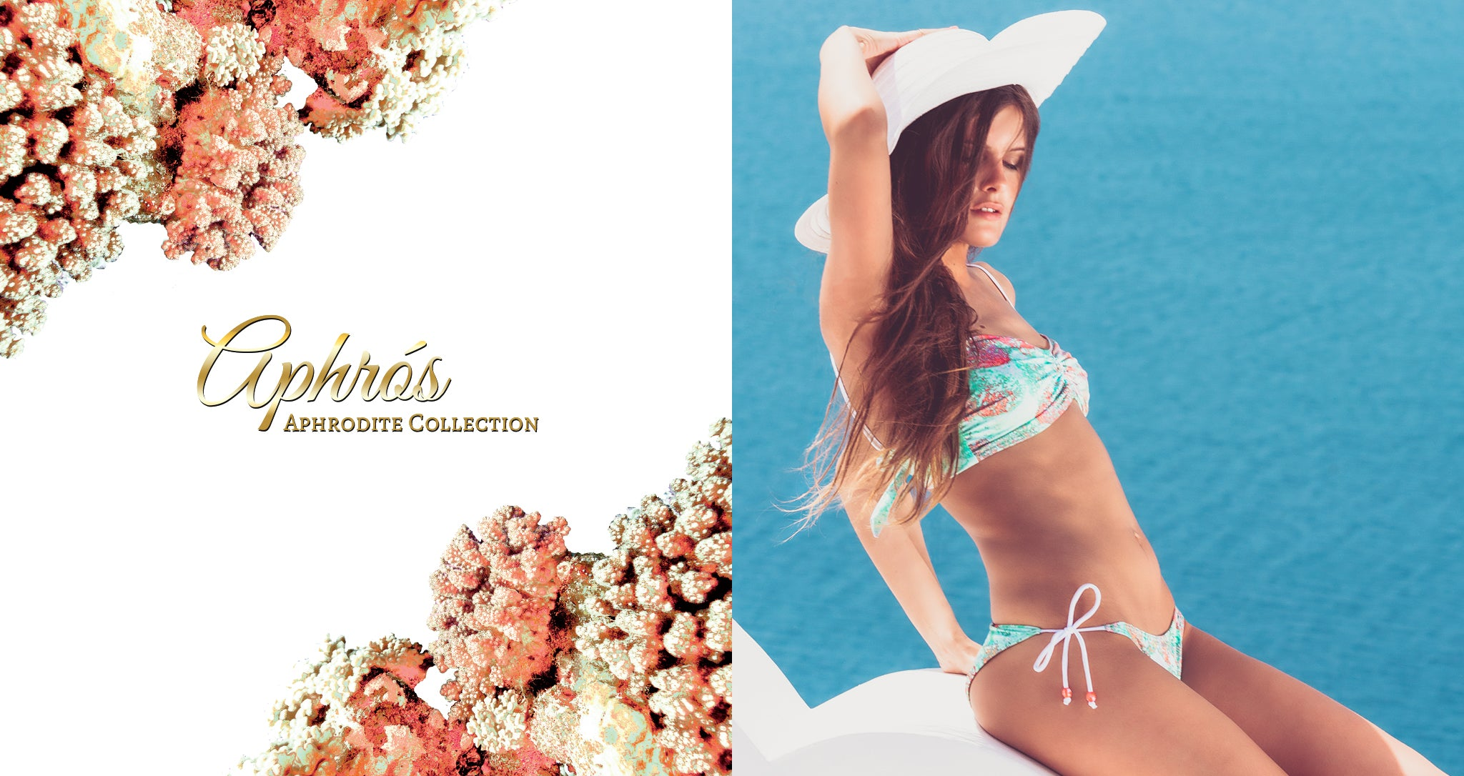 Shop Mer Culture Swimwear | Aphrodite Look 4 | Aphros Bandeau Top and String Tie Bottom Bikini
