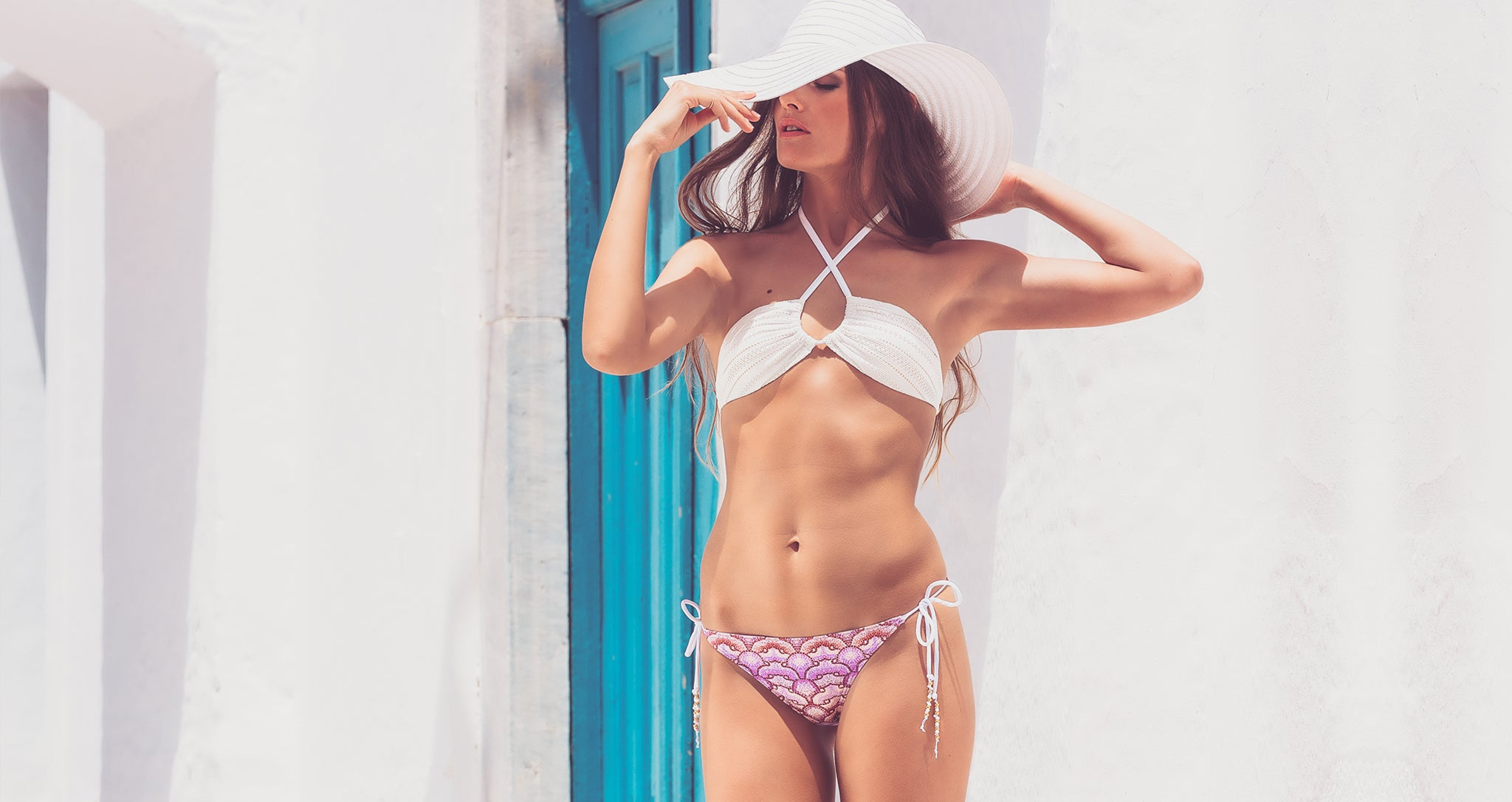 Shop Mer Culture Swimwear | Aphrodite Look 2 |  Thea Halter Top and Kelyfos String Tie Bottom Bikini