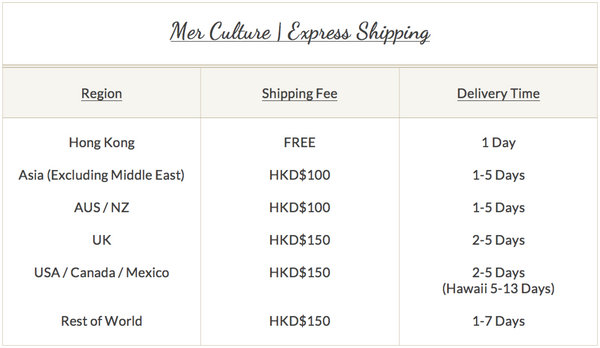 Mer Culture swimwear | Flat fee express shipping Worldwide