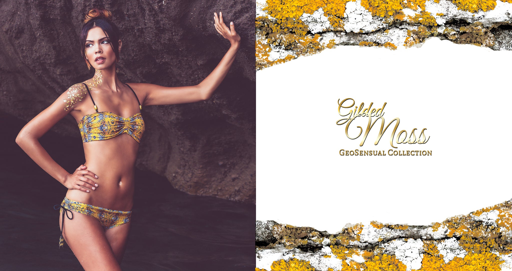 MerCulture Swimwear | GeoSensual Collection | Gilded Moss Bandeau Top with Gilded Moss Beach Bum Bottom | Mer Culture Bikini