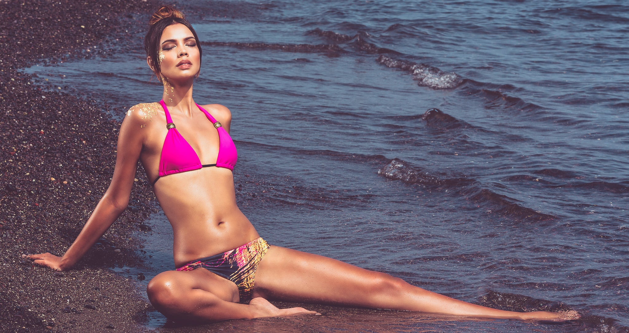 Shop Mer Culture Swimwear | GeoSensual Look 1 | Hypnotic Fuchsia Halter Top and Strata Glow Beach Bum Bottom Bikini