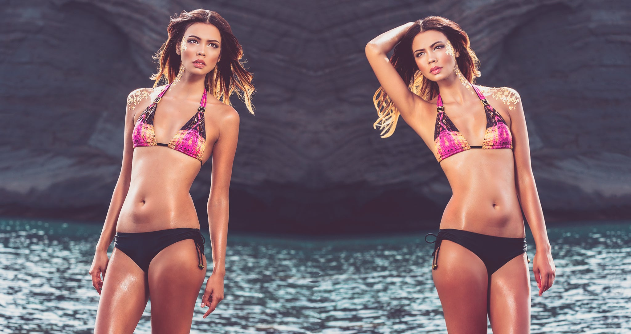 Shop Mer Culture Swimwear | GeoSensual Look 3 | Strata Glow Halter Top and Volcanic Black Beach Bum Bottom Bikini