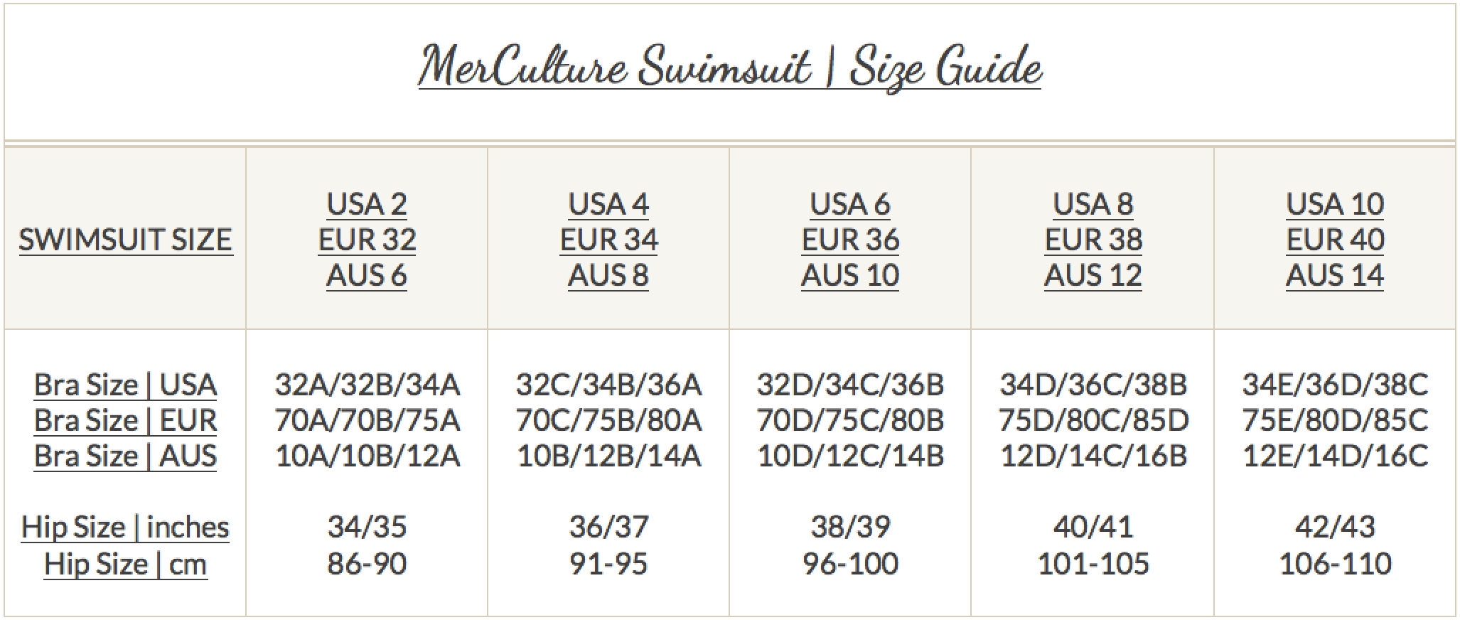 Mer Culture Swimsuit Size Guide
