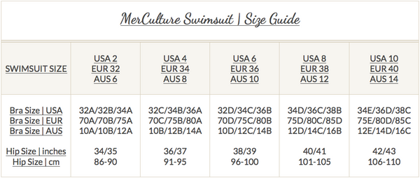 Mer Culture swimwear | Swimsuit size guide