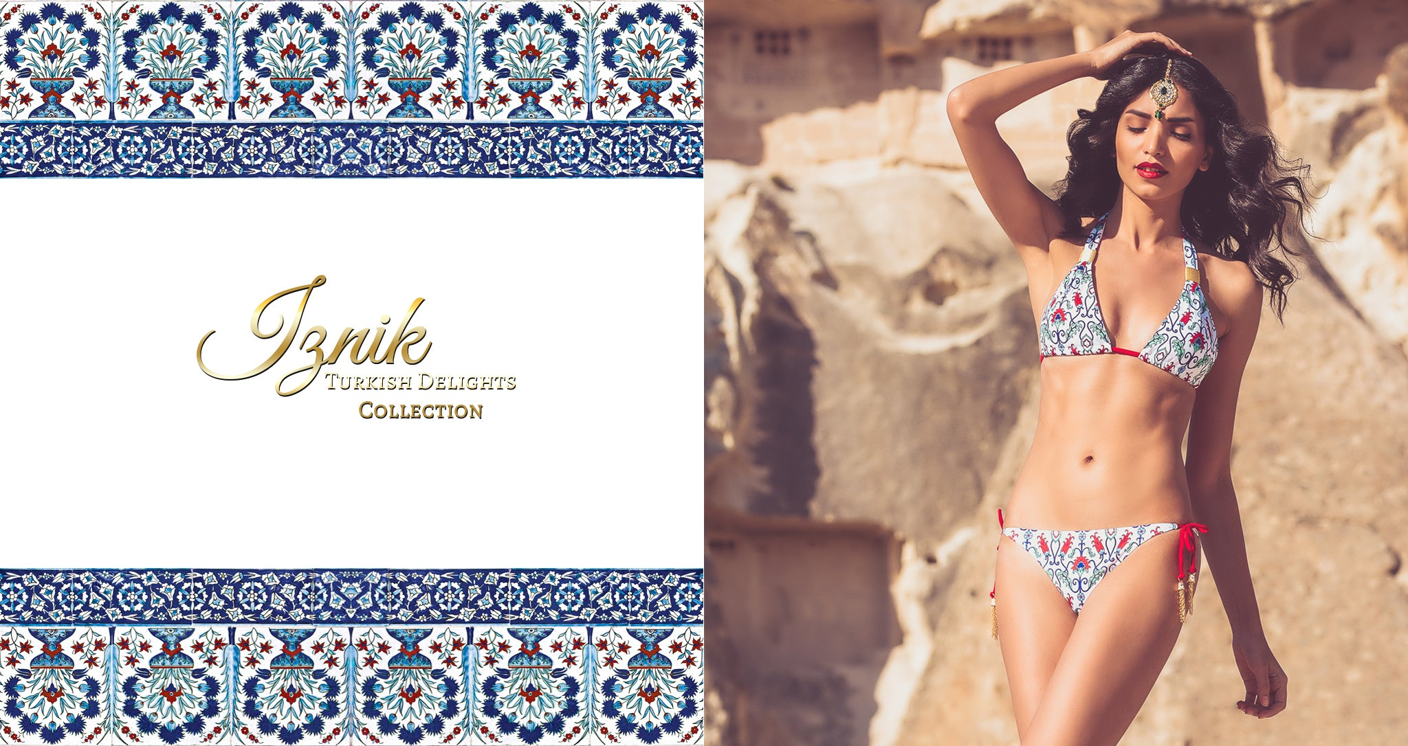 Shop Mer Culture Swimwear | Turkish Delights Look 1 | Iznik Halter Top and String Tie Bottom Bikini