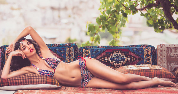 Mer Culture Swimwear | Kilim halter top and beach bum bottom bikini | Turkish Delights Collection