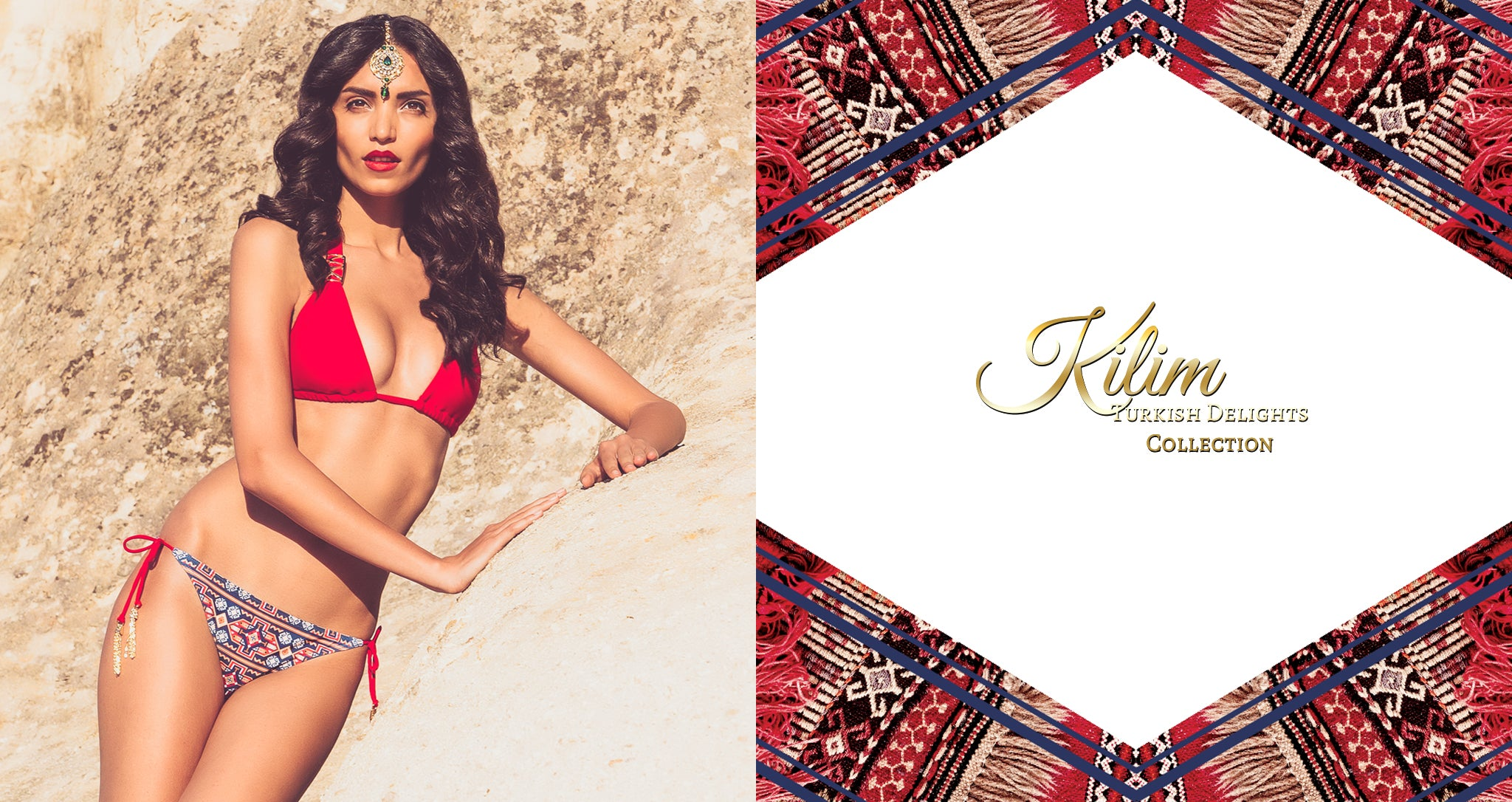 Shop Mer Culture Swimwear | Turkish Delights Look 7 | Kirmizi Red Halter Top and Kilim String Tie Bottom Bikini