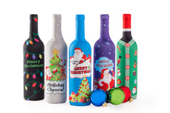 Toast The Season, Christmas Wine Bottle Covers - 5 Pack - The Perfect Holiday Gift!