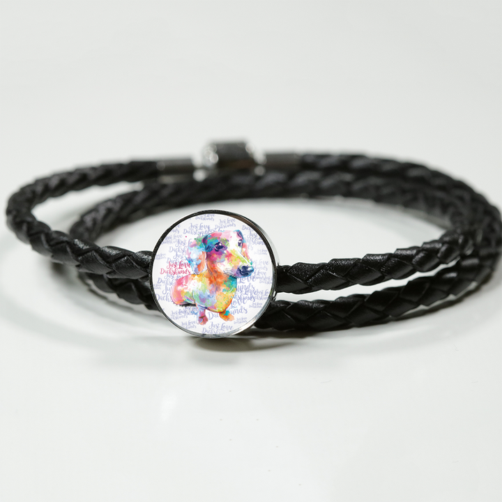 Just Love Dachshunds Double Braided Leather Bracelet