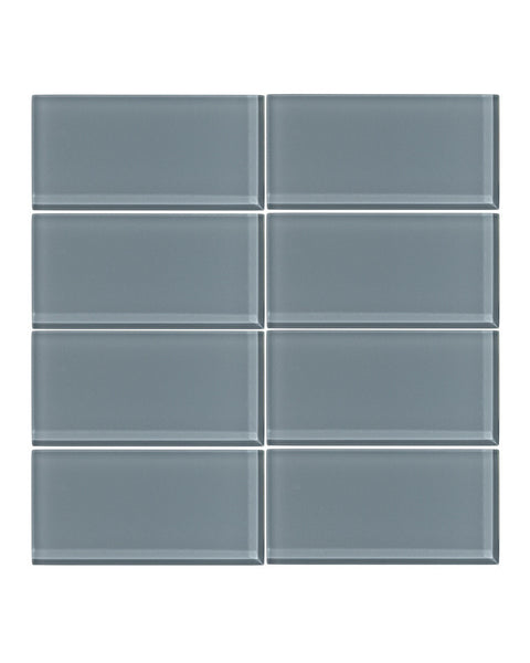 Cadet Gray 3x6 Glass Subway Tile