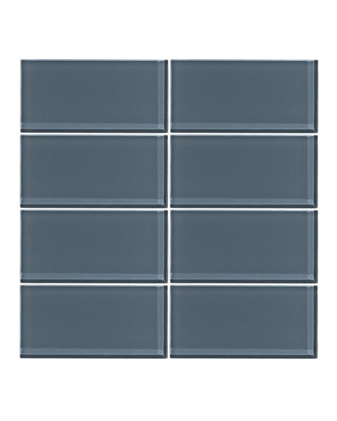 Steel Blue 3x6 Glass Subway Tile