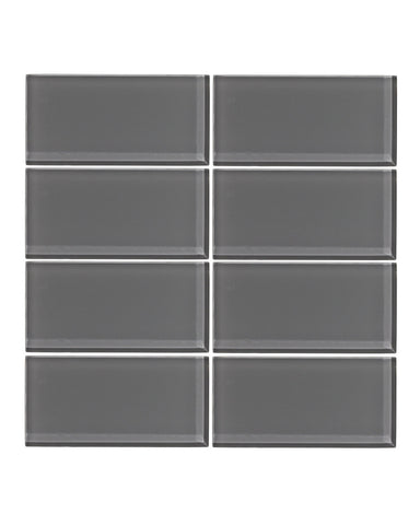 Taupe Gray 3x6 Glass Subway Tile