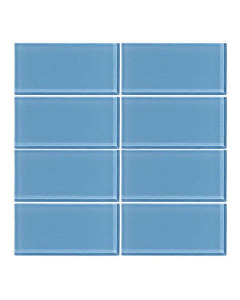 Sky Blue 3x6 Glass Subway Tile