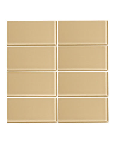 Toasted Almond 3x6 Glass Subway Tile