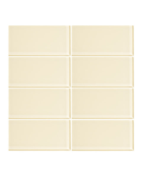 Lemon Meringue 3x6 Glass Subway Tile