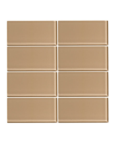 Brown Sugar 3x6 Glass Subway Tile