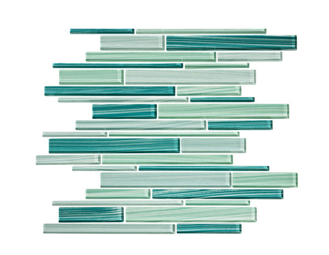 Tropical Reflections Hand Painted Glass Strip Mosaic