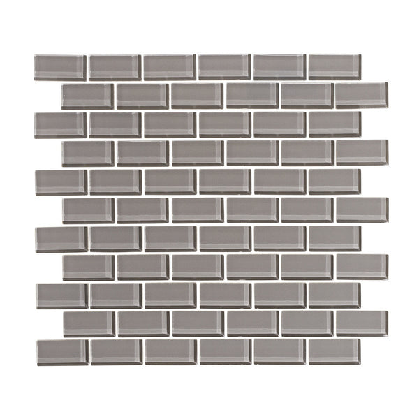 Taupe Gray 1x2 Glass Subway Tile Mosaic