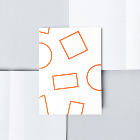 Pocket Layflat Notebook - Orange Shapes / Plain