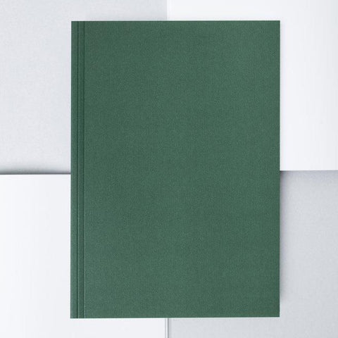 Medium Layflat Notebook - Forest Green and Mustard / Plain