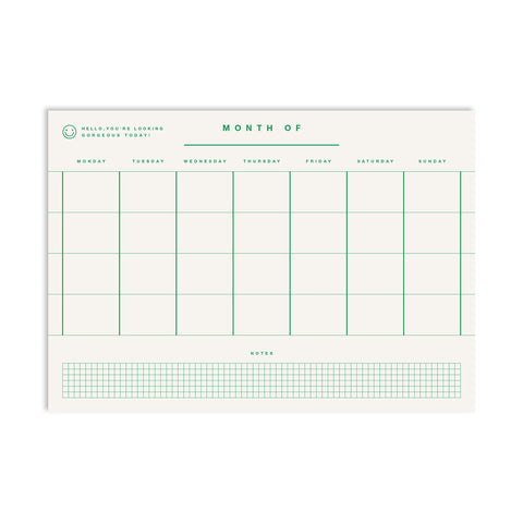 Monthly Planner A4 - Green