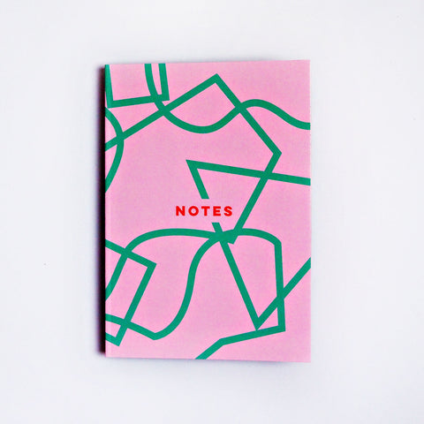 Dot Grid A5 Notebook - Pink Graphic Shapes
