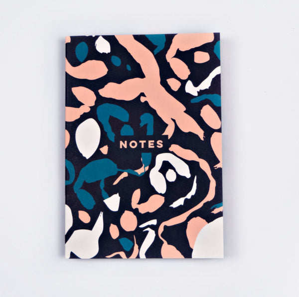 Dot Grid A5 Notebook - Pink & Green Inky