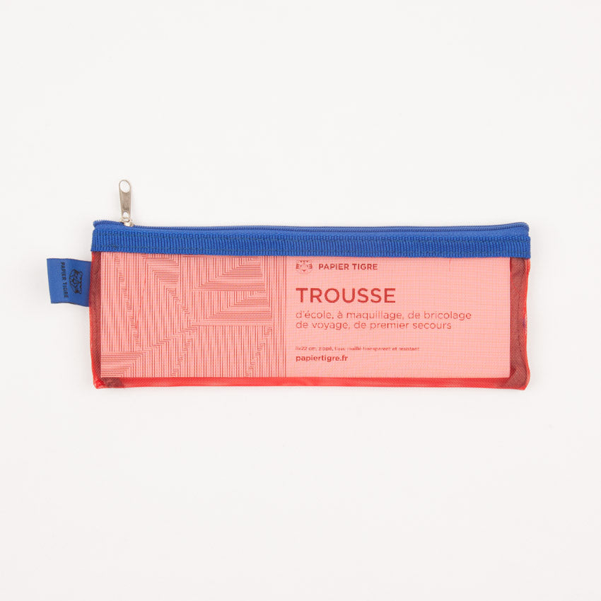 Mesh Pencil Case - Red & Blue