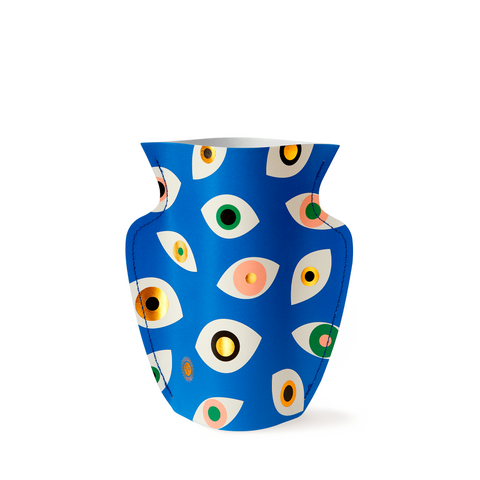 Mini Paper Vase - Nazar Blue