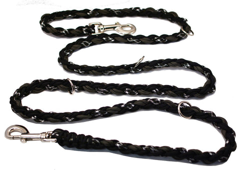 Leashes By Liz, 6 ft- Nylon Braided Paracord Multi-Purpose Leash in Black-grey Camo Color