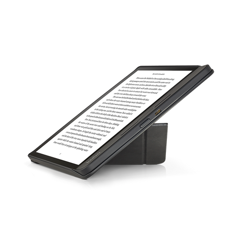 Kobo Forma with black SleepCover folded into stand
