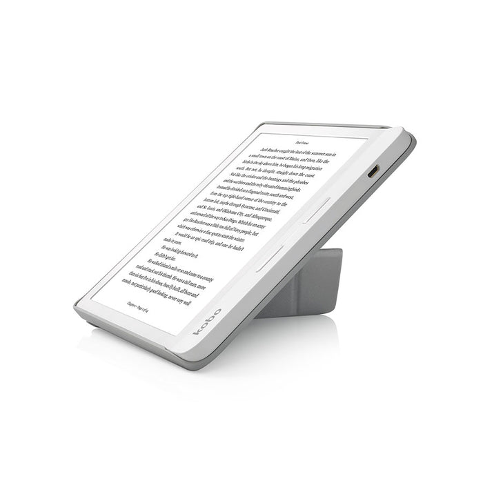 White Kobo Libra H2O with white SleepCover, folded into a stand