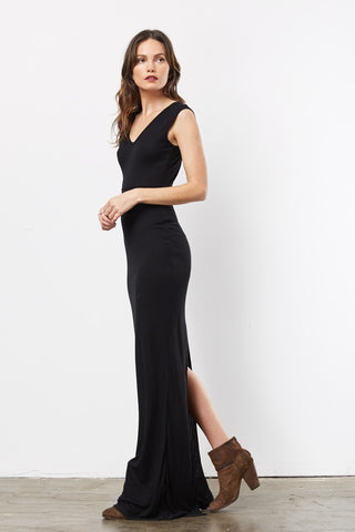 Finally Black Open Back Maxi
