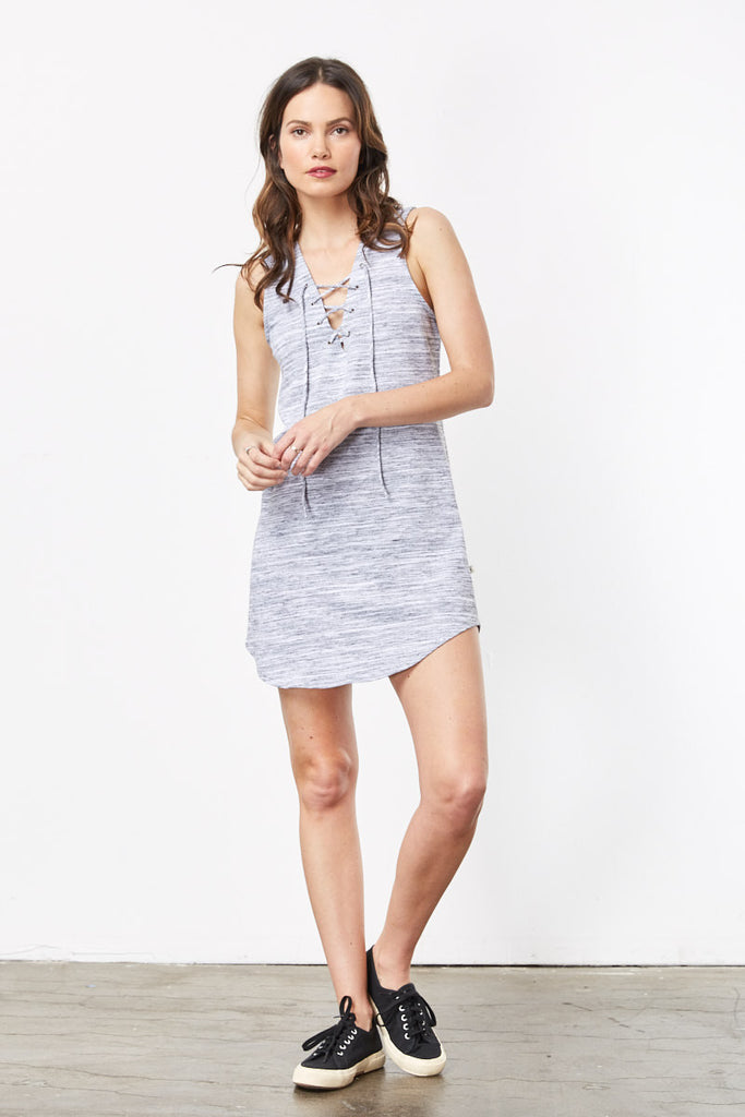 Cute Summer Dresses: Nytt Short Sleeveless Lace Up Front Dress Grey