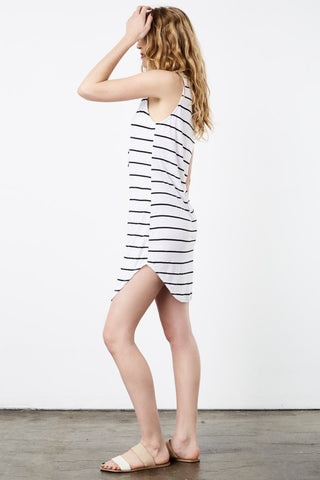 Lace-Up V-Neck Sailor Striped Tank Dress