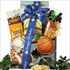 Armchair Athlete: Birthday Sports & Snacks Gift Basket