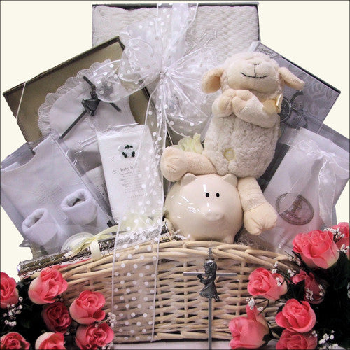 Beautiful Blessings - Girl: Baby Christening Gift Basket