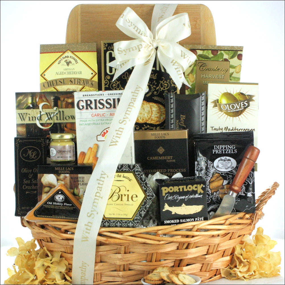 In Kindness & Sympathy: Sympathy Cheese & Snack Gift Basket