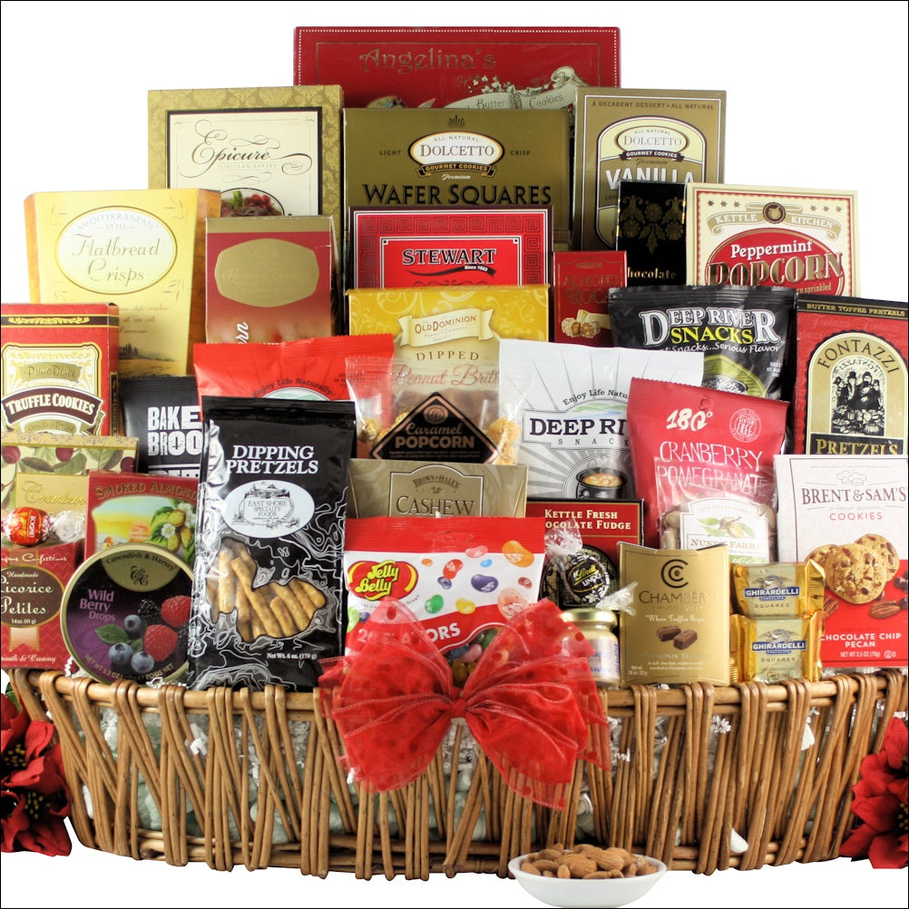 Magnificent Holiday Munchies: Gourmet Holiday Christmas Gift Basket