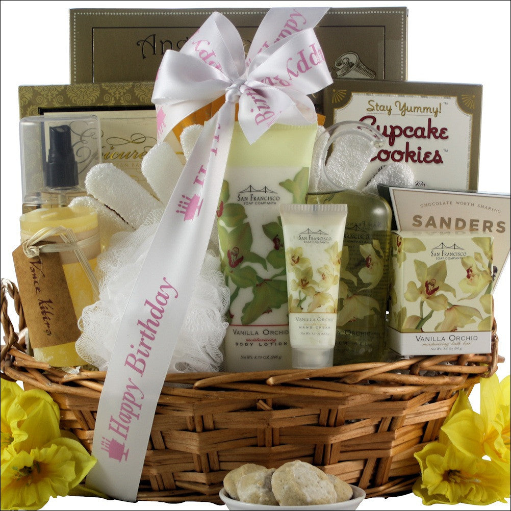Vanilla Orchid Spa Luxuries: Bath & Body Birthday  Spa Gift Basket