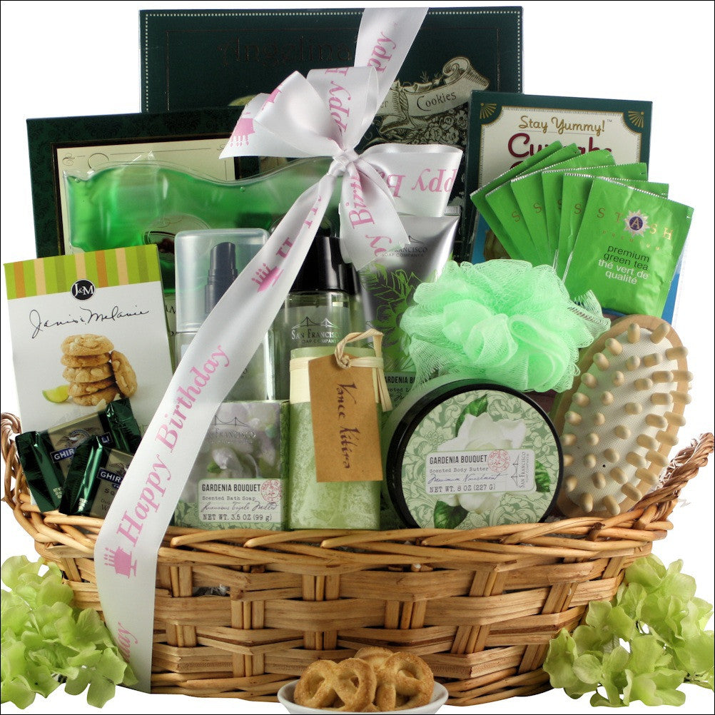 Gardenia Bouquet Spa Haven: Bath & Body Birthday Gift Basket